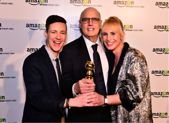 Rhys Ernst, Jeffrey Tambor, and Zackary Drucker after <i>Transparent</i>s win for best television comedy or musical at the 2015 Golden Globe Awards