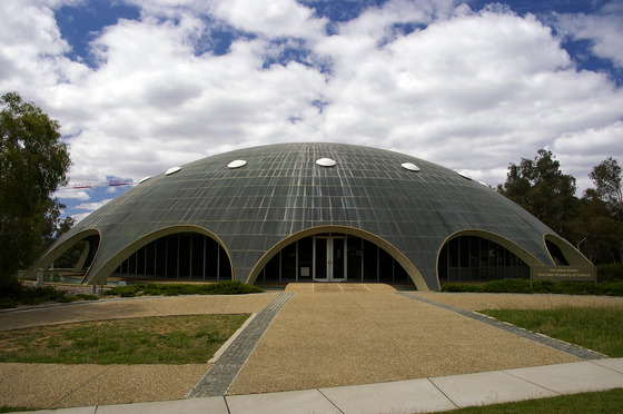 <i>Australian Academy of Science - The Shine Dome (referred to locally as the Martian Embassy) in Canberra, Australian Capital Territory (2009) </i>. Photograph by Bidgee / Creative Commons