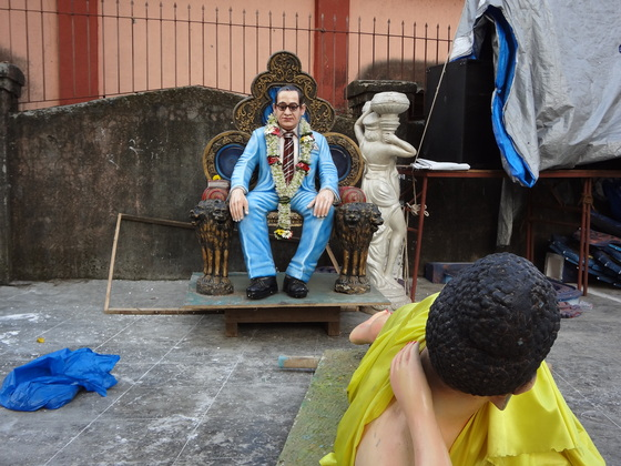 <i>A statue of B. R. Ambedkar facing the Buddha on the morning after popular celebrations commemorating Buddhist conversion.</i>. Photograph courtesy of Anupama Rao