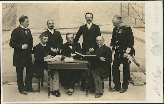 <i>The Members of the First International Olympic Committee, April 10, 1896</i>. Photograph by Meyer Albert / Wikimedia Commons