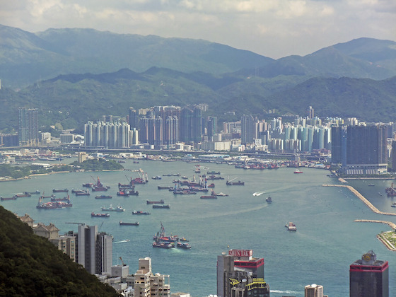 <i>Hong Kong Harbor off Kowloon, from Victoria Gap, 2013</i>. Photograph by Daniel Case / Wikimedia