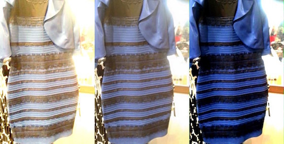 A picture of the two-tone dress that went viral on social media in 2014, after prompting a debate over whether it was white and gold or blue and black. The original image is in the middle. At left, the lighting is white-balanced to make the dress appear white-gold and at right, the image is white-balanced to make it appear blue-black. (Result: everyone is correct!)