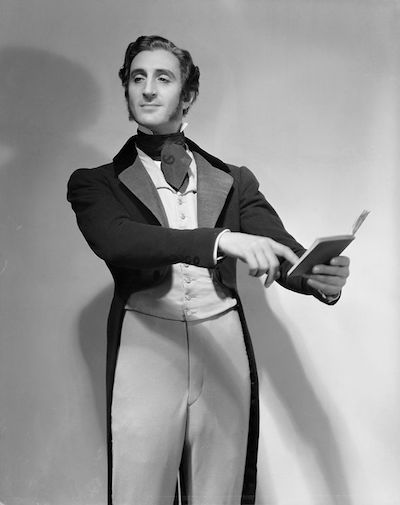 """""""Clever man"""" Robert Browning took it upon himself to reveal the identity of a pseudonymous female author. Here Browning is played by Basil Rathbone in the Empire Theater's 1931 production of <i>The Barretts of Wimpole Street</i>. Photograph courtesy of Vandamm Studio / New York Public Library Digital Collections"""