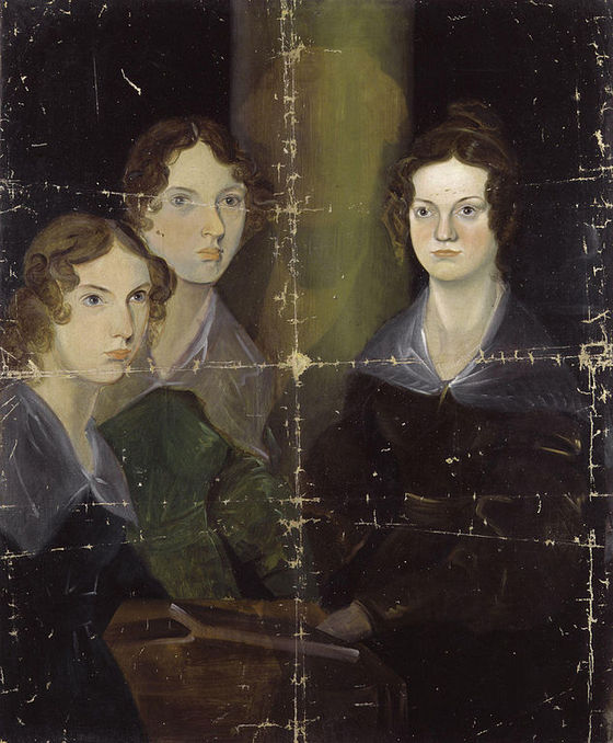 <i>The Brontë sisters</i> by Patrick Branwell Brontë, 1834. Anne, Emily, and Charlotte are depicted; their brother Branwell originally painted himself between Emily and Charlotte, but later painted himself out. Photograph courtesy of the National Portrait Gallery / Wikimedia Commons
