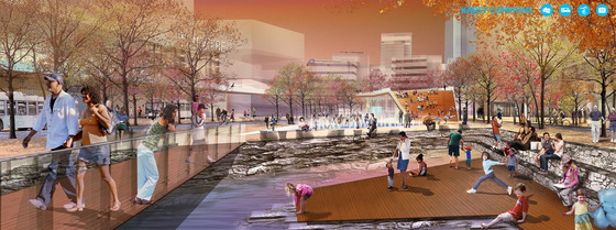 <i>The proposed Karst Commons, a space that exposes rock formations and an underground stream to visitors</i>. Image courtesy of SCAPE / The Monacelli Press