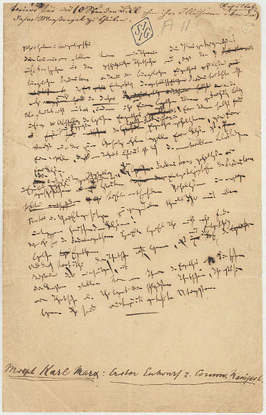 <i>A manuscript page from what would become </i>The Communist Manifesto (1847). Wikimedia Commons