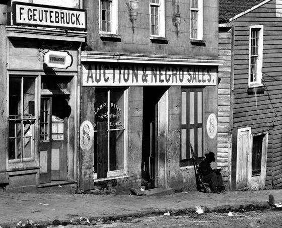 <i> A slave market in Atlanta, GA</i> (1864). Wikimedia Commons