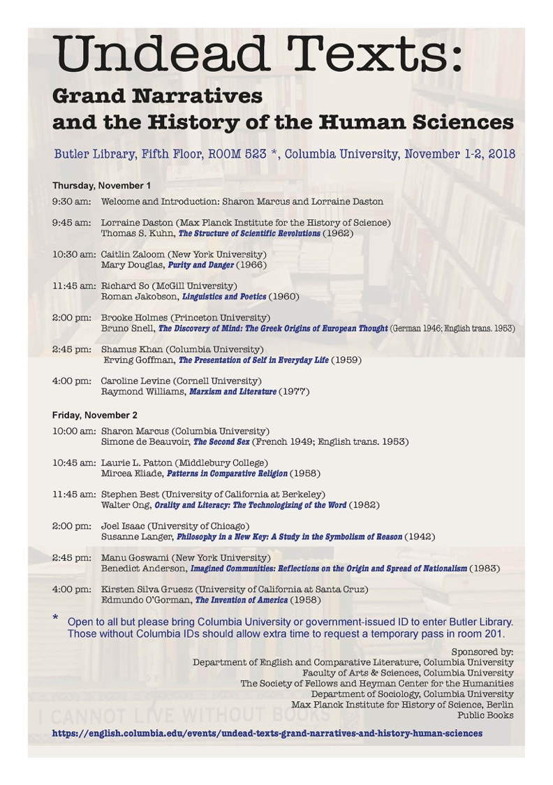 UndeadTexts: Grand Narratives and the History of the Human Sciences